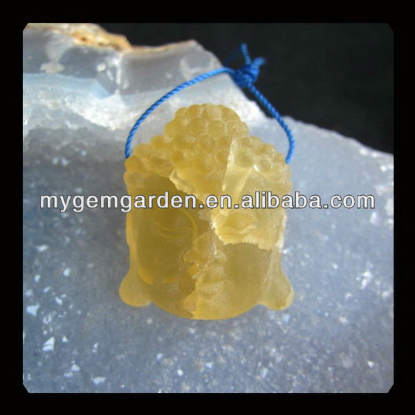 Carved Calcite Buddha Head Pendant Bead