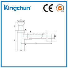 (J220-A)Kingchun Most Popular chrome plated brass waste Pipe for Wash Basin Drain Parts 1/2'' Bottle Trap