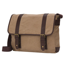 High Quality Mens Canvas Leather Messenger Bag Crossbody Bags With Laptop Compartment Anti-theft Men Shoulder Bag