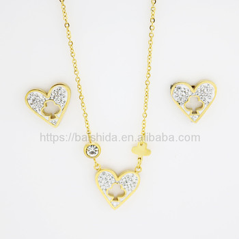 casaul heart shaped moti rhinestone two unit jewelry set for women men unisex