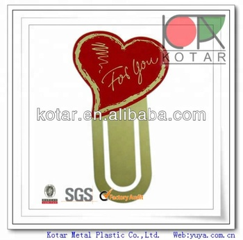 Promotional heart shaped gold finish fashion metal bookmark