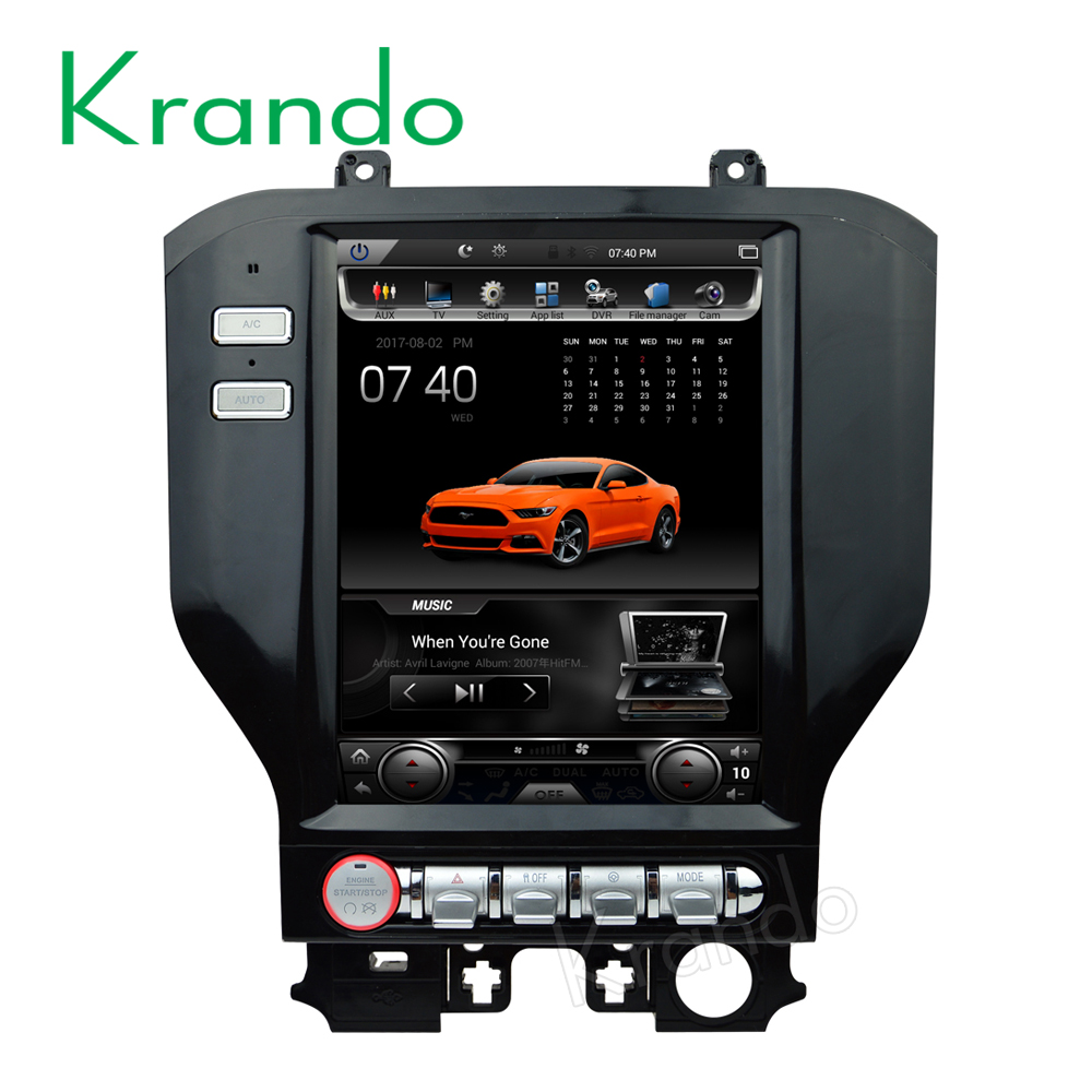 "Krando Android 6.0 vertical 10.4"" big screen car dvd player gps for ford mustang car radio navigation tesla style 32G KD-TL126"