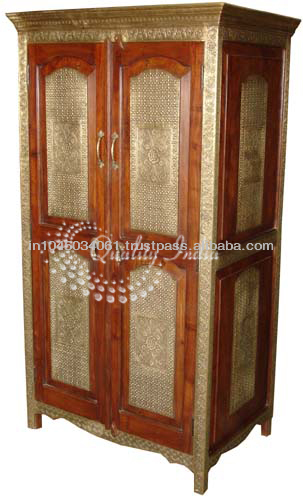 Brass and Wooden Indian Style Storage Almirah Furniture