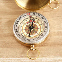 Hot Selling Super Quality Portable 5cm Golden Copper Compass pocket watch retro flip compass outdoor Camping Compass