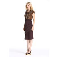 Leopard Ruffled Collar Ladies Fashion Formal Work Dresses