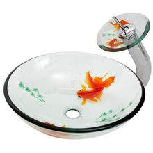 Tempered Glass Vessel Sink, with cUPC certificate, gold fish vessel.
