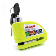 High security green alarm disc lock siren padlock alert lock for motorbike or bicycle
