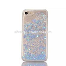 Alibaba top selling Christmas gift plastic glitter heart liquid sand cell phone cover for iphone 7 7 plus