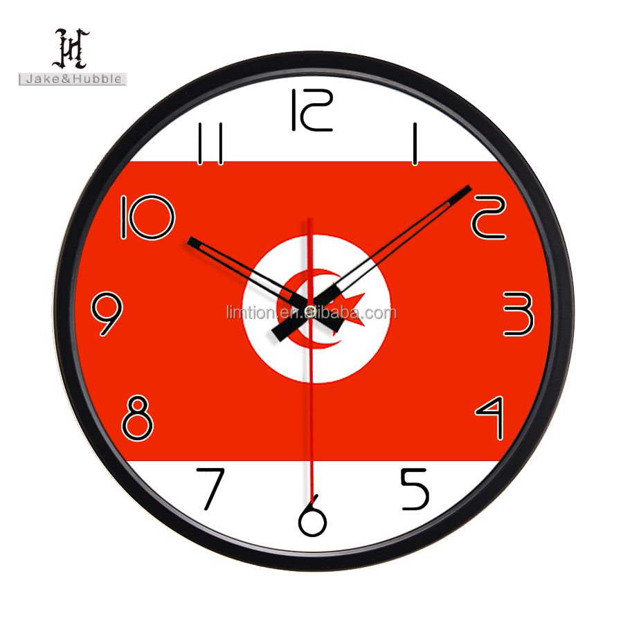 Tunisia national flag clock manufacturers expensive melting clock