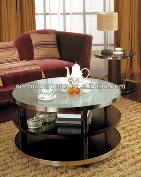 Hotel use coffee table with tempred glass top CH-CJ-006