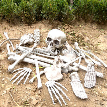 Bag of bones 28pcs skeleton bones in a mash bag plastic for Bag of bones halloween decoration