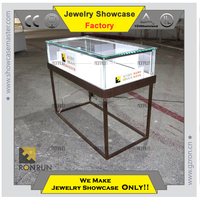 New design jewelry glass display case with LED lights