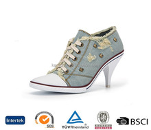 2017 china top brand high heels lace up canvas upper denim blue women casual shoes