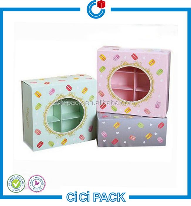 2016 Macaron/chocolate packaging box with window for wholesale