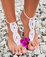 crochet lace bridal foot jewelry barefoot sandals sexy yoga anklet