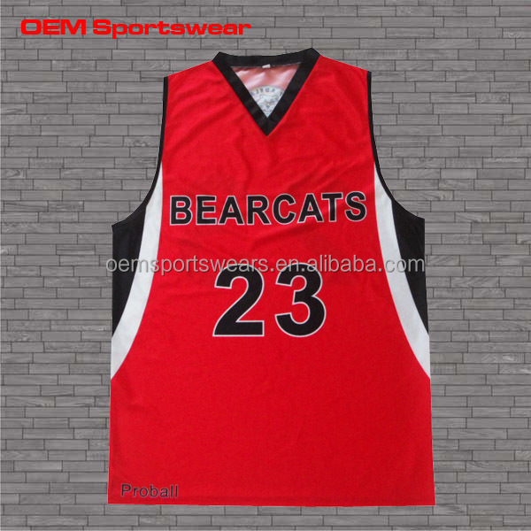 Best basketball jersey design color black and red custom made V neck