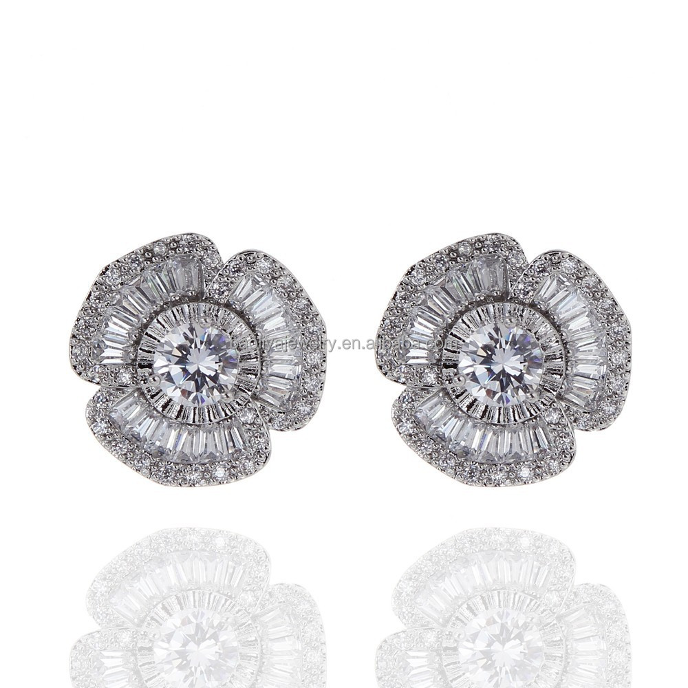 European Style Wedding Stud Earrings Shaped Cubic Zirconia Diamond Earring Factory Pirce
