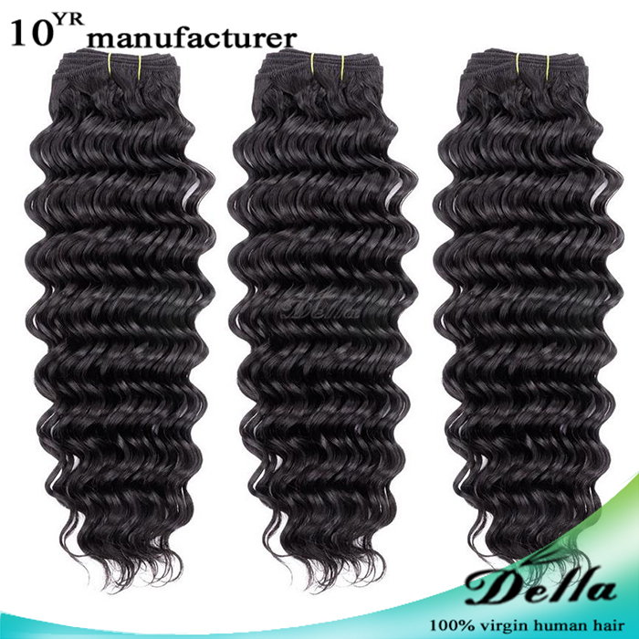 "3 Bundles 14"" 100% Brazilian Human Hair Weave Wefts Loose Wave Natural Black"