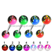 Cheap Wholesale Colorful New Design Flame Ball UV Tongue Rings Tongue Barbell Acrylic Piercing Jewelry