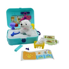 2019 hot selling kids simulated pet care educational tableware backpack play set toy