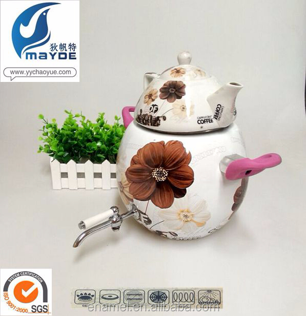 Troditional Flower Decal Double-layer Enamel porcelain water pitcher for sell