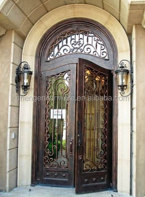 Round Top Antiqued Wrought Iron Double Entry Door With Transom Buy Wrought