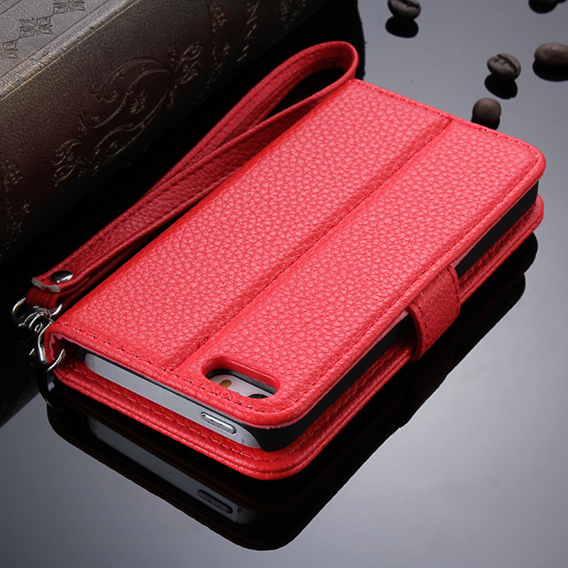 Smart Phone PU Leather Sticker Flip Cover Case For Iphone 5S