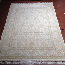 7x10ft handmade white carpet persian qum home rugs 100% silk