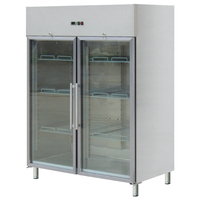 Vegetables Storage Equipment 2 Door Refrigerator Freezer / Glass Display Refrigerator Fridge 1300L