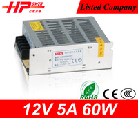 Guangzhou manfacturer high warranty single output constant voltage 60w 5a 12 vlots cctv camera power supply price list