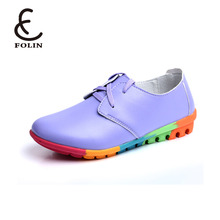 Wholesale ladies genuine leather flat Shoes Women Flats Fashionable shoe Lady soft sole Casual Shoes in China