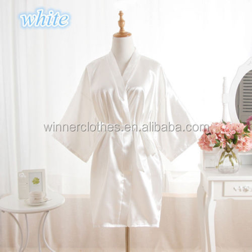2017 NEW items White Women robe Silk Satin Robes Wedding Bridesmaid Bride Gown kimono robe