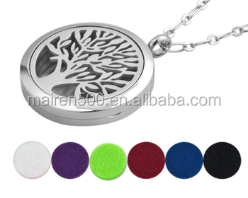 30/25/20mm locket family tree pendant necklace surgical steel 316 stainless steel jewelry essential oil diffsuer necklace