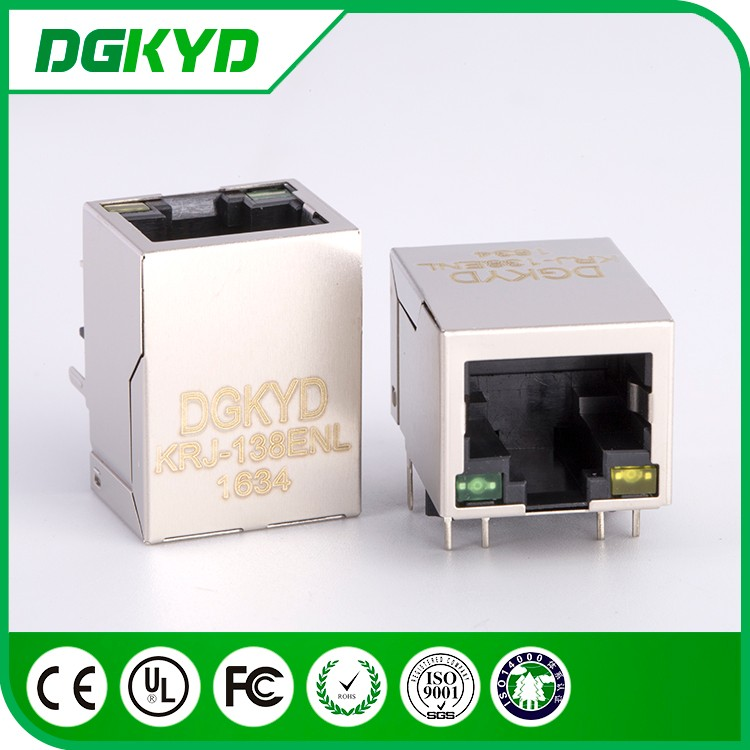 China Supplier KRJ-138ENL metal shield 8P8C ethernet jack 10/100 BASE-TX cat5 RJ45 connector