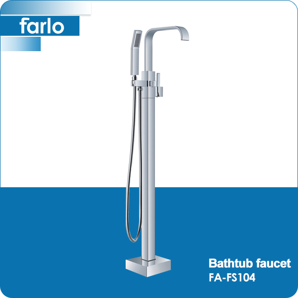 FARLO Floor Mounted Chrome Brass Long Spout Bathtub Whirlpool Waterfall Faucet