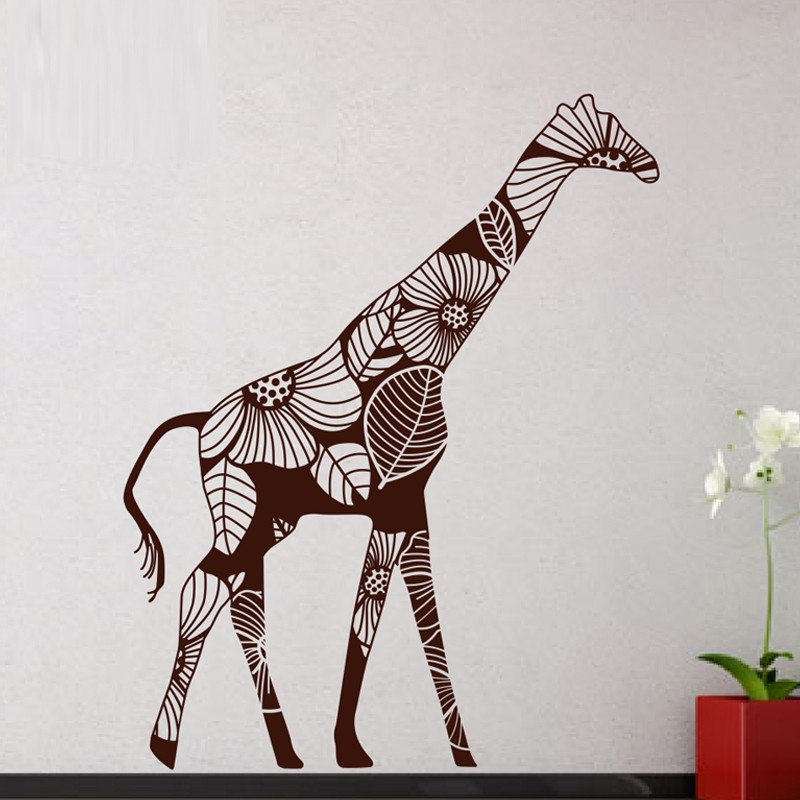 N238A Big Giraffe Removable Wall Stickers Big Size Wall Decals Vinyl Wall Sticker