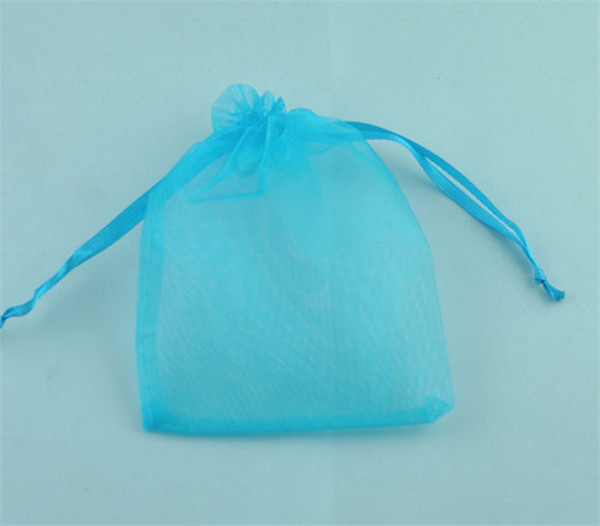 Organza Jewelry Bags Drawstring Rectangle Light Blue 9cm x7cm