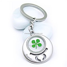 wholesale custom wholesale Four leaf clover lucky grass key ring key chain parts