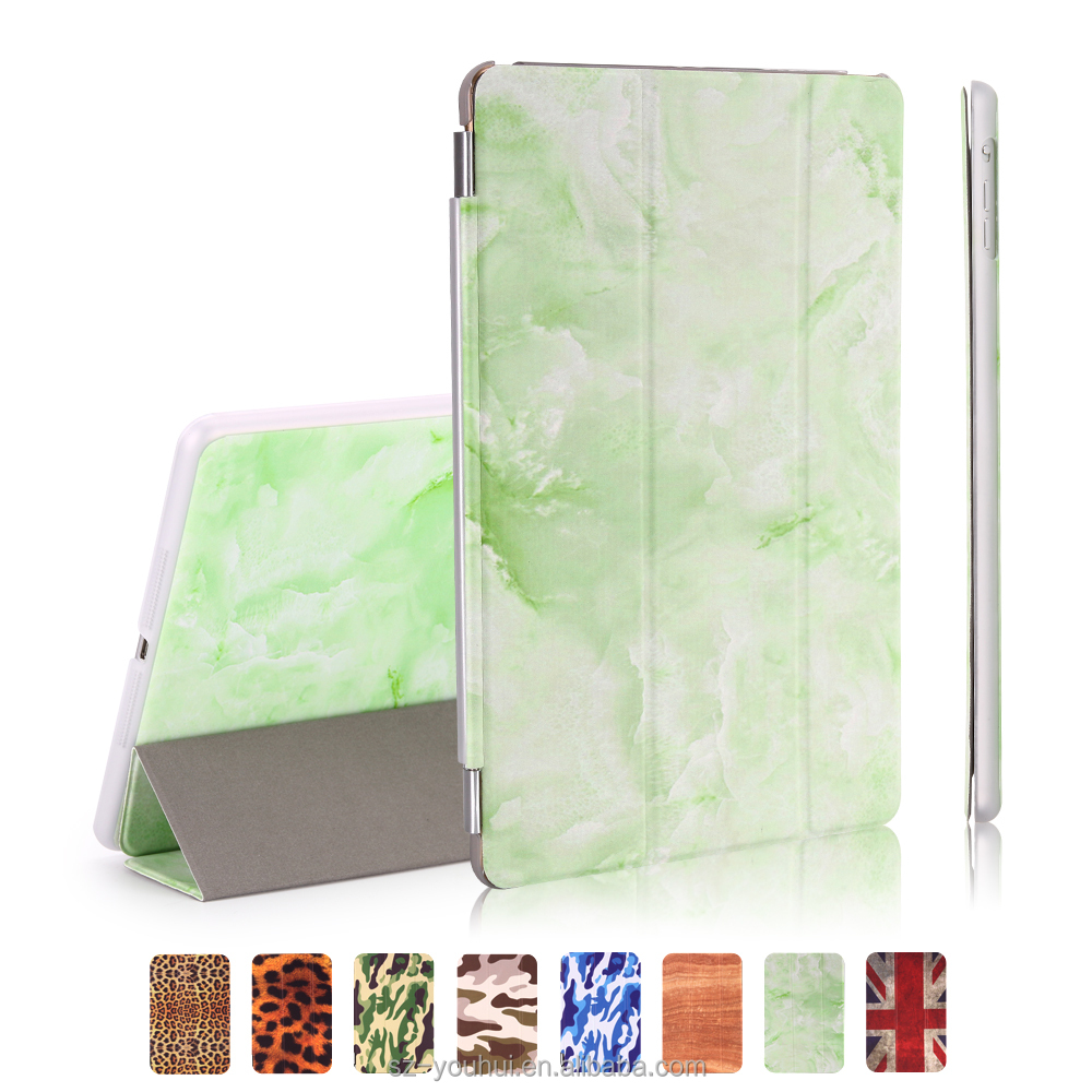 Manufactory Luxury Ultra Slim Leopard Camouflage Wood UK Flag Design Flip Stand Leather Cover Case for iPad Ai for iPad 5