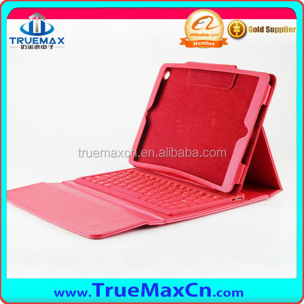 2014 new product pu leather case with bluetooth keyboard stand leather for ipad 5 for ipad air