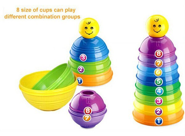 8 different size Shantou plastic toys baby stack cup
