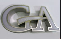 Frontlit acylic channel letter with stainless steel border