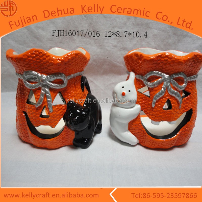 Personalized Ceramic Halloween Jack o Lantern Lamp Light Pumpkin Ceramic