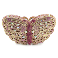 Exquisite Hard Case Butterfly Design Crystal And Rrhinestone Evening Bags