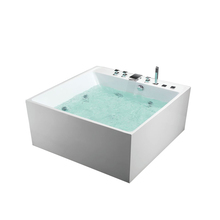 White Gemy Acrylic Modern Design Led Function Whirlpool Massage Bathtub For Home Hotel Use