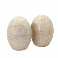 Genuine Champagne Marble Bookends - Egg Style