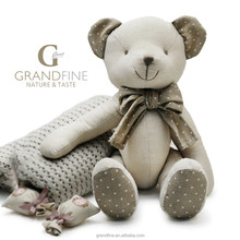 Luxury Linen&cotton fabric stuffing teddy kid baby bear doll for baby doll newborn with EN71 test report and CE and Reach docs