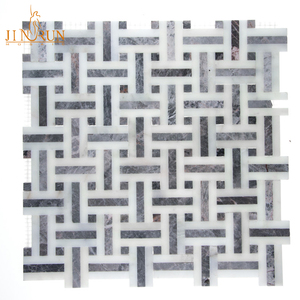 Basket weave marble mosaic tile for living room