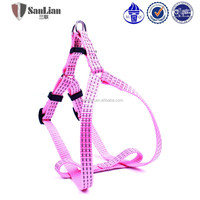 Pink warm color Three string reflective silk smart dog harness and leash
