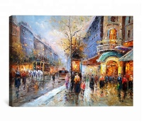 Impressionist paris street scene canvas oil paintings
